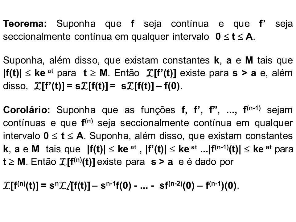 Teorema: Suponha que f seja contínua e que f seja seccionalmente contínua em qualquer intervalo 0 t A. Suponha, além disso, que existam constantes k,
