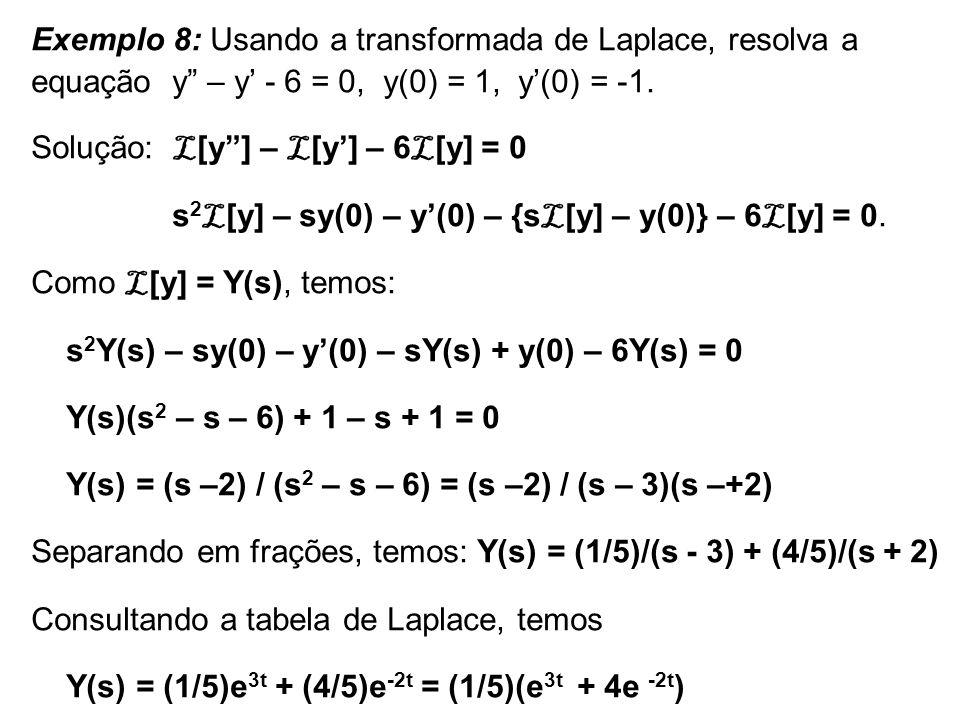 Exemplo 8: Usando a transformada de Laplace, resolva a equação y – y - 6 = 0, y(0) = 1, y(0) = -1. Solução: L [y] – L [y] – 6 L [y] = 0 s 2 L [y] – sy
