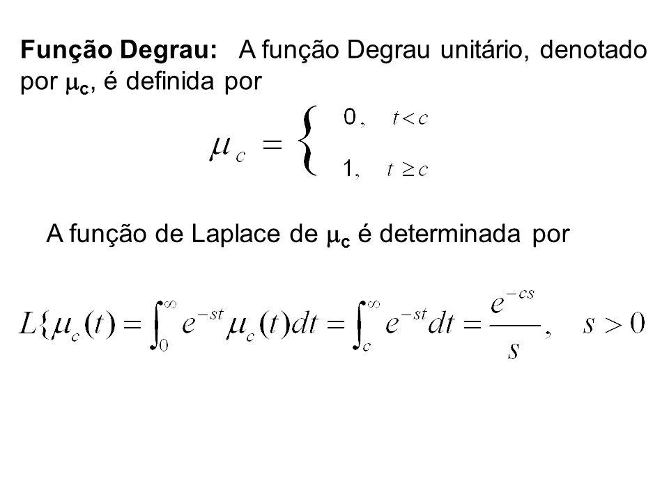 Função Degrau: A função Degrau unitário, denotado por c, é definida por A função de Laplace de c é determinada por