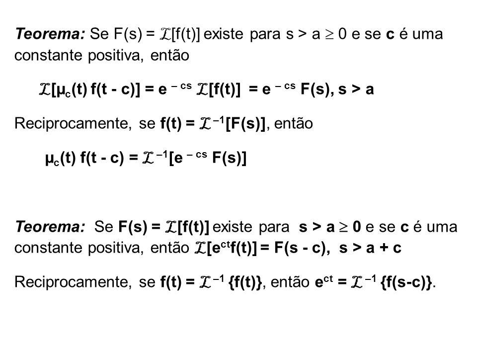 Teorema: Se F(s) = L [f(t)] existe para s > a 0 e se c é uma constante positiva, então L [µ c (t) f(t - c)] = e – cs L [f(t)] = e – cs F(s), s > a Rec