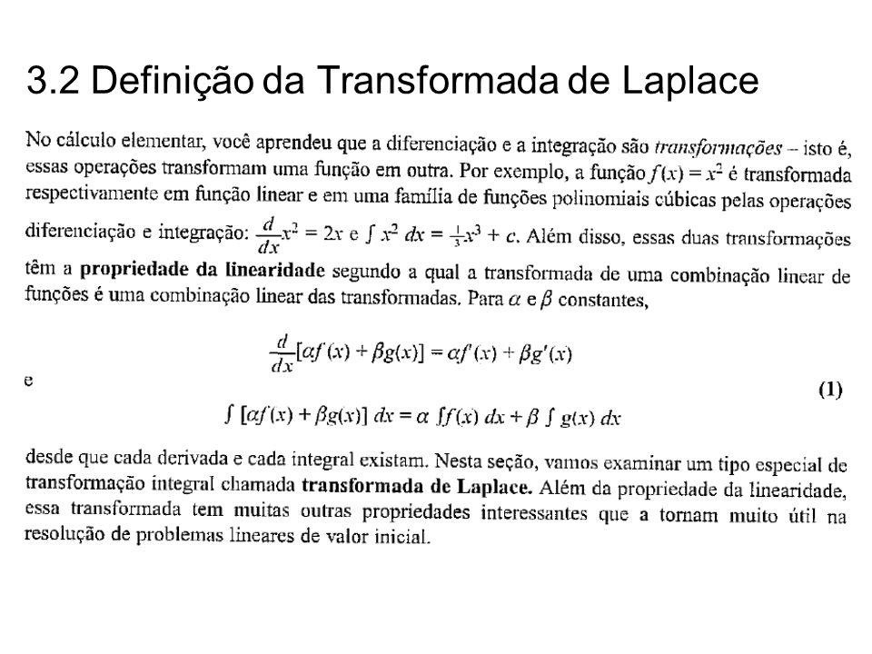 Teorema: Se f é de ordem exponencial e é de período p, então Exemplo 11: Ache a transformada de Laplace da função cujo gráfico é 1 1 23 4 t f(t) Neste caso, f é periódica com período 2, donde