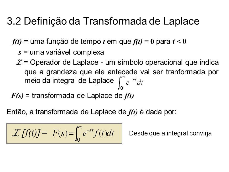 f(t) = uma função de tempo t em que f(t) = 0 para t < 0 s = uma variável complexa F(s) = transformada de Laplace de f(t) L = Operador de Laplace - um