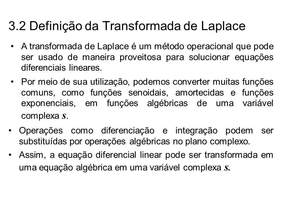 Se a equação algébrica em s for solucionada em termos da variável dependente, então a solução da equação diferencial (a transformada de Laplace inversa da variável dependente) poderá ser obtida por meio da tabela das transformadas de Laplace.