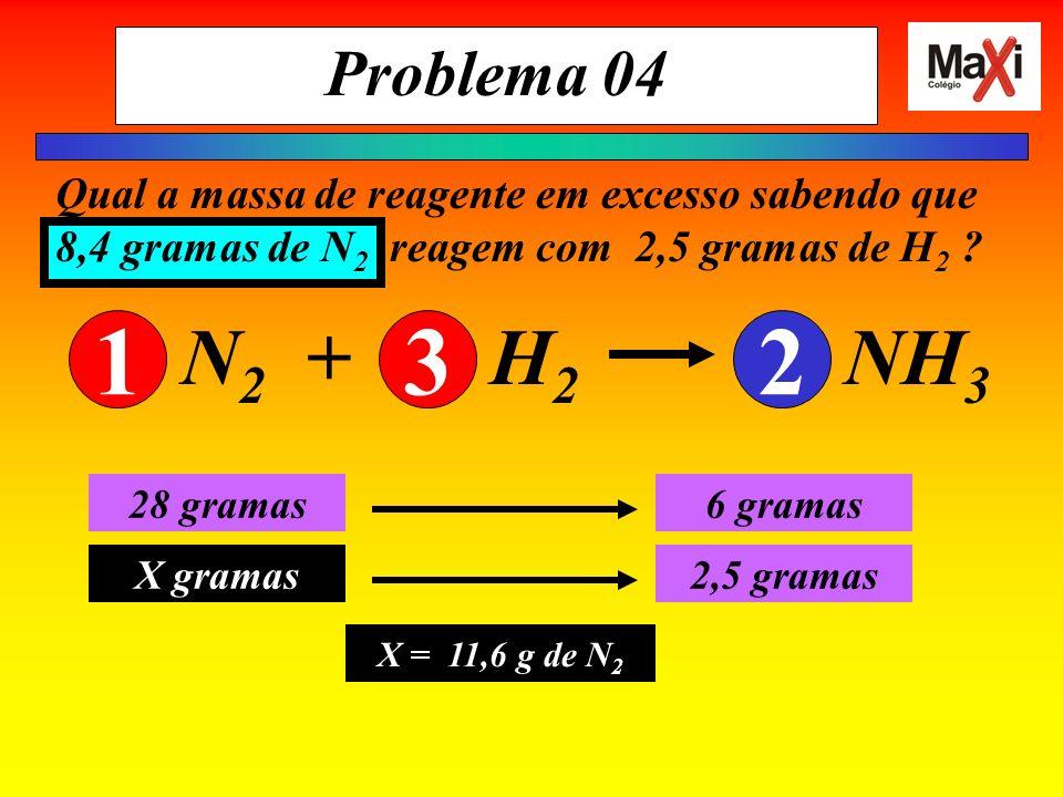 Problema 04 Qual a massa de reagente em excesso sabendo que 8,4 gramas de N 2 reagem com 2,5 gramas de H 2 ? 28 g de N 2 6 g de H 2 8,4 gramas X g de