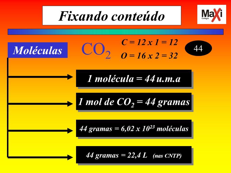 C = 12 x 1 = 12 O = 16 x 2 = 32 44 CO 2 Moléculas 1 molécula = 44u.m.a 1 mol de CO 2 = 44 gramas 44 gramas = 6,02 x 10 23 moléculas 44 gramas = 22,4 L (nas CNTP) Fixando conteúdo