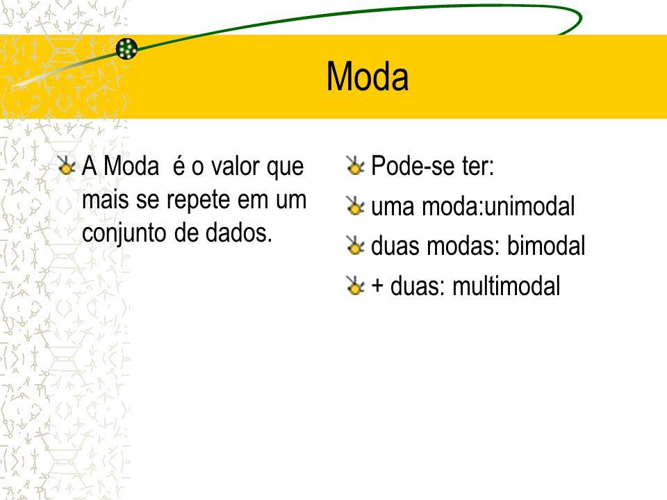 EXERCÍCIO 3: Determine a Mediana, para o exercício 1 anterior. Ordenar 5 11 8 14 8 16 11 Posição: (n+1)/2 (8+1)/2 4,5 Med=11