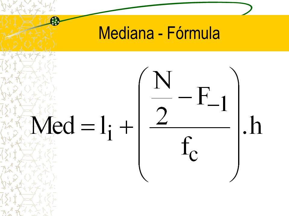 Mediana - dados agrupados Como encontrar a classe mediana: calcula-se a F; dividir n/2; a F que se igualar ou exceder n/2, será a classe mediana.