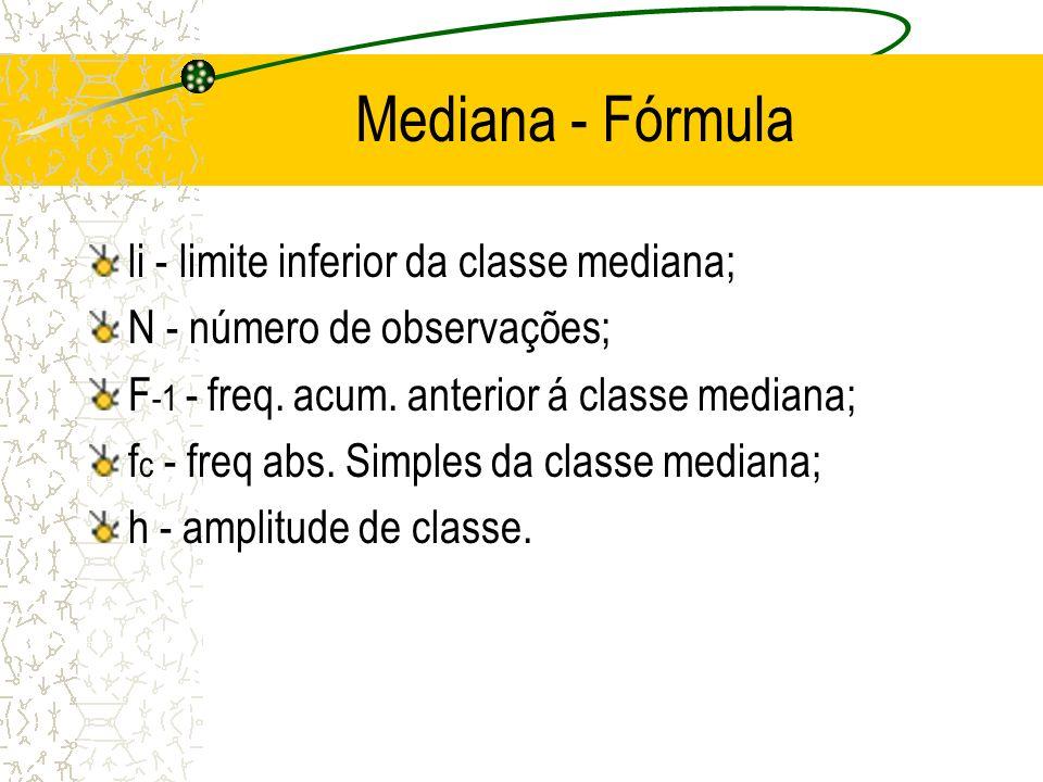 Mediana - Fórmula