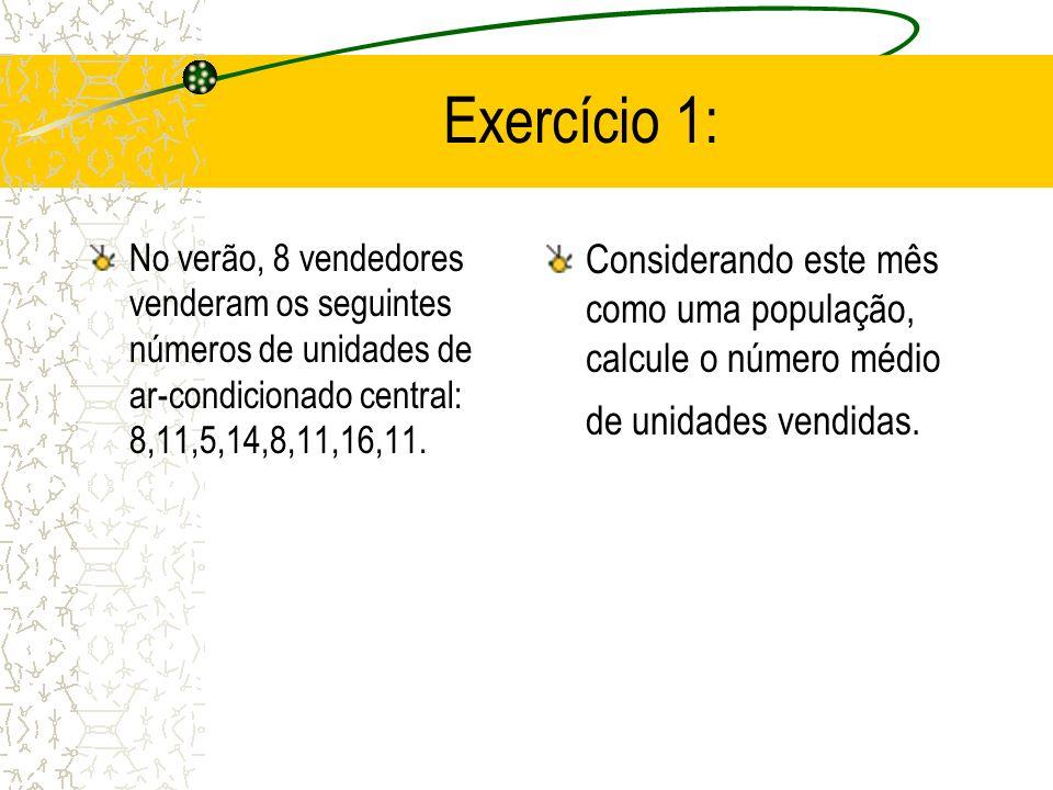 Exercício 1: Considerando este mês como uma população, calcule o número médio de unidades vendidas.