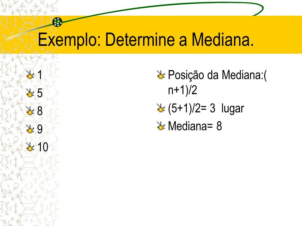 Relação entre média, mediana e moda Quando: curva simétrica -> média=mediana=moda assimétrica positiva -> média>mediana>moda assimétrica negativa -> média<mediana<moda
