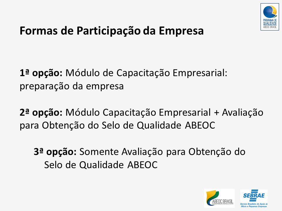 Formas de Participação da Empresa 1ª opção: Módulo de Capacitação Empresarial: preparação da empresa 2ª opção: Módulo Capacitação Empresarial + Avalia