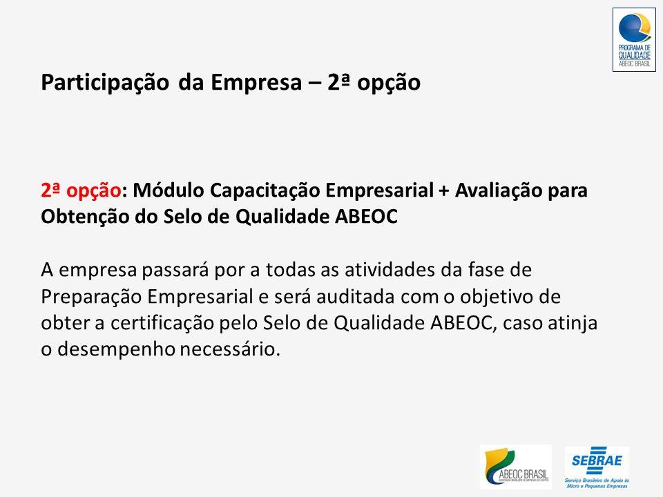 Participação da Empresa – 2ª opção 2ª opção: Módulo Capacitação Empresarial + Avaliação para Obtenção do Selo de Qualidade ABEOC A empresa passará por