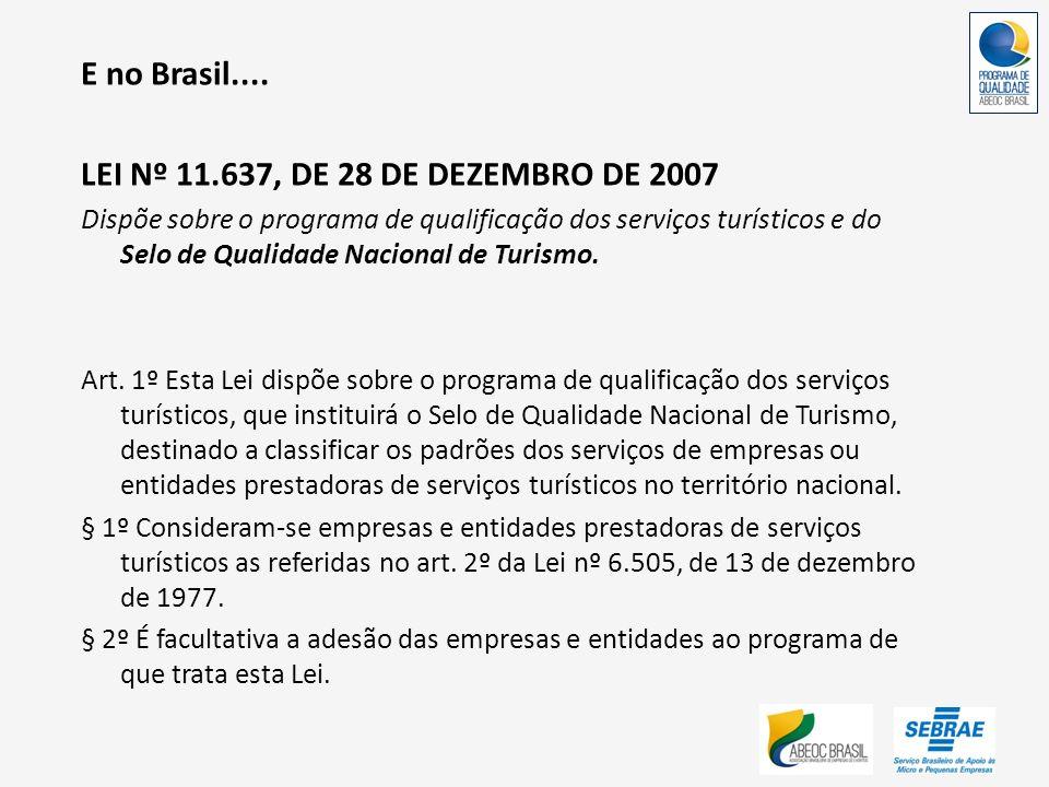 E no Brasil.... LEI Nº 11.637, DE 28 DE DEZEMBRO DE 2007 Dispõe sobre o programa de qualificação dos serviços turísticos e do Selo de Qualidade Nacion