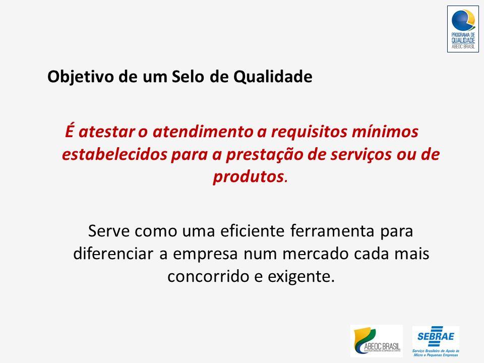 Objetivo de um Selo de Qualidade É atestar o atendimento a requisitos mínimos estabelecidos para a prestação de serviços ou de produtos. Serve como um