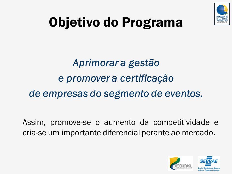 Objetivo do Programa Aprimorar a gestão e promover a certificação de empresas do segmento de eventos. Assim, promove-se o aumento da competitividade e