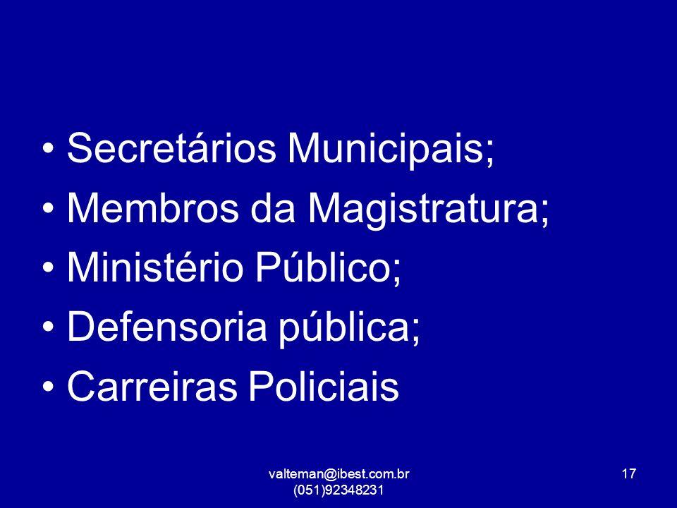 valteman@ibest.com.br (051)92348231 17 Secretários Municipais; Membros da Magistratura; Ministério Público; Defensoria pública; Carreiras Policiais