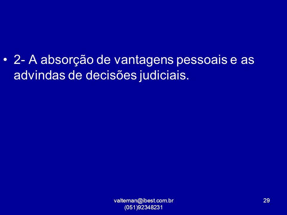 valteman@ibest.com.br (051)92348231 29 2- A absorção de vantagens pessoais e as advindas de decisões judiciais.