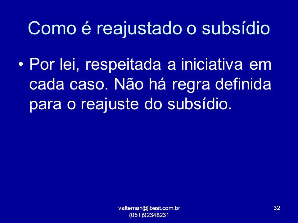 valteman@ibest.com.br (051)92348231 32 Como é reajustado o subsídio Por lei, respeitada a iniciativa em cada caso.