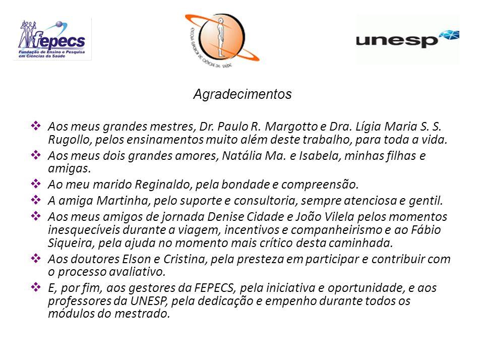 Agradecimentos Aos meus grandes mestres, Dr. Paulo R. Margotto e Dra. Lígia Maria S. S. Rugollo, pelos ensinamentos muito além deste trabalho, para to