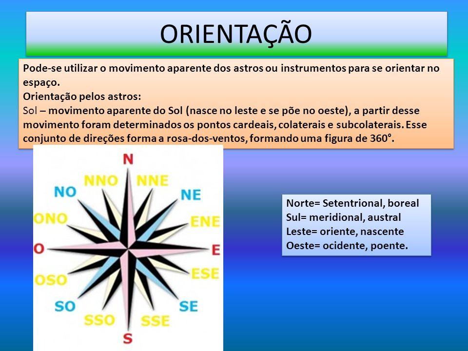 ORIENTAÇÃO Pode-se utilizar o movimento aparente dos astros ou instrumentos para se orientar no espaço. Orientação pelos astros: Sol – movimento apare