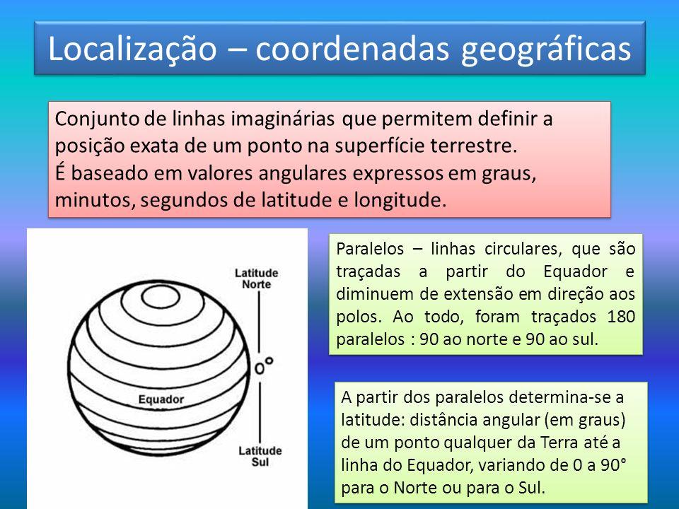 Localização – coordenadas geográficas Conjunto de linhas imaginárias que permitem definir a posição exata de um ponto na superfície terrestre. É basea