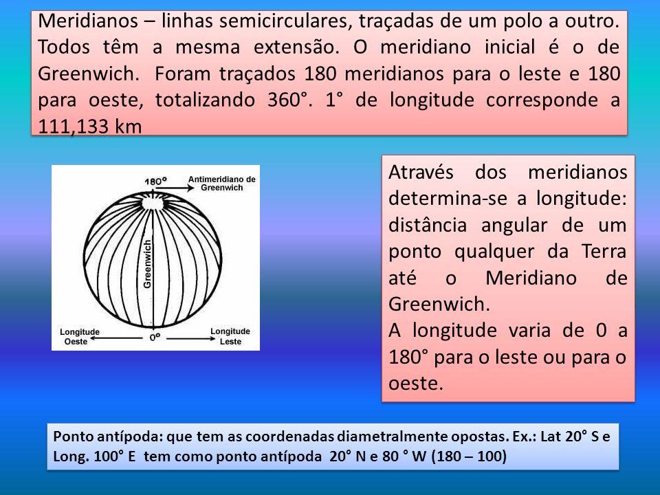 Meridianos – linhas semicirculares, traçadas de um polo a outro. Todos têm a mesma extensão. O meridiano inicial é o de Greenwich. Foram traçados 180