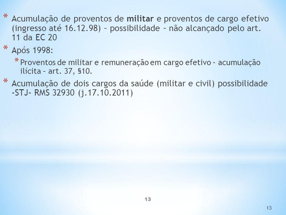 13 * Acumulação de proventos de militar e proventos de cargo efetivo (ingresso até 16.12.98) – possibilidade – não alcançado pelo art.