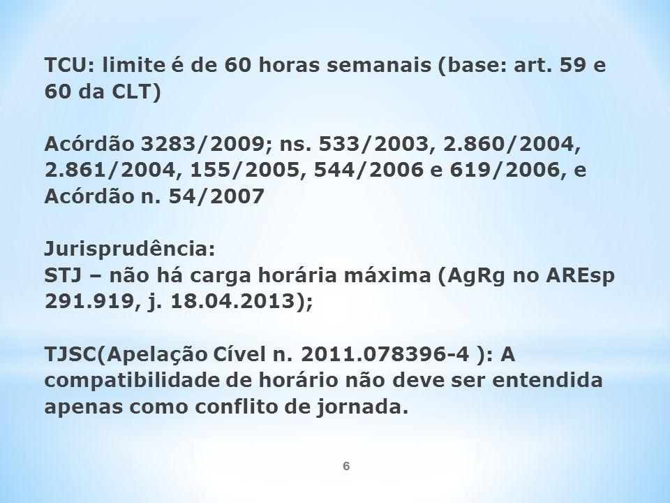 6 TCU: limite é de 60 horas semanais (base: art.59 e 60 da CLT) Acórdão 3283/2009; ns.