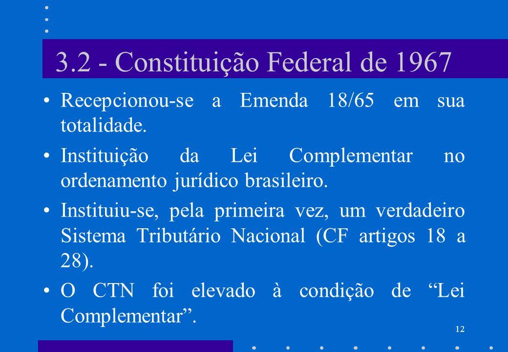3.2 - Constituição Federal de 1967 Recepcionou-se a Emenda 18/65 em sua totalidade. Instituição da Lei Complementar no ordenamento jurídico brasileiro