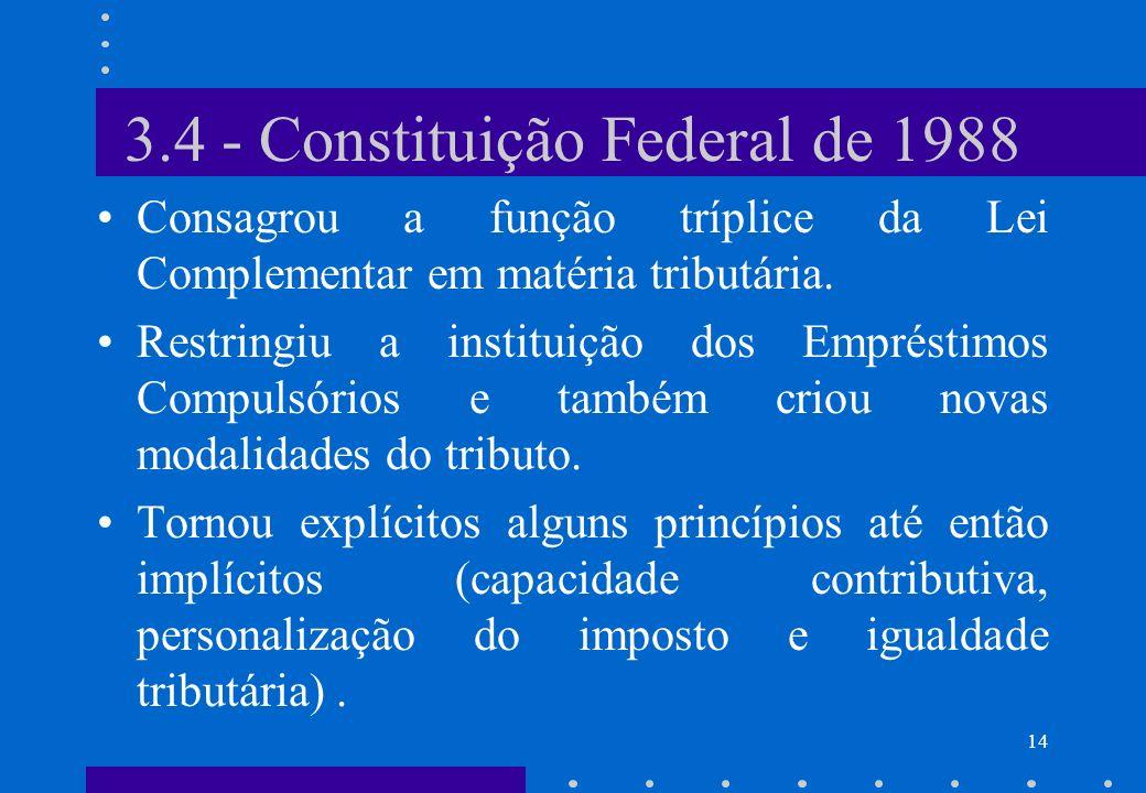 3.4 - Constituição Federal de 1988 Consagrou a função tríplice da Lei Complementar em matéria tributária. Restringiu a instituição dos Empréstimos Com