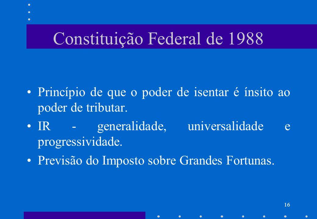 Constituição Federal de 1988 Princípio de que o poder de isentar é ínsito ao poder de tributar. IR - generalidade, universalidade e progressividade. P