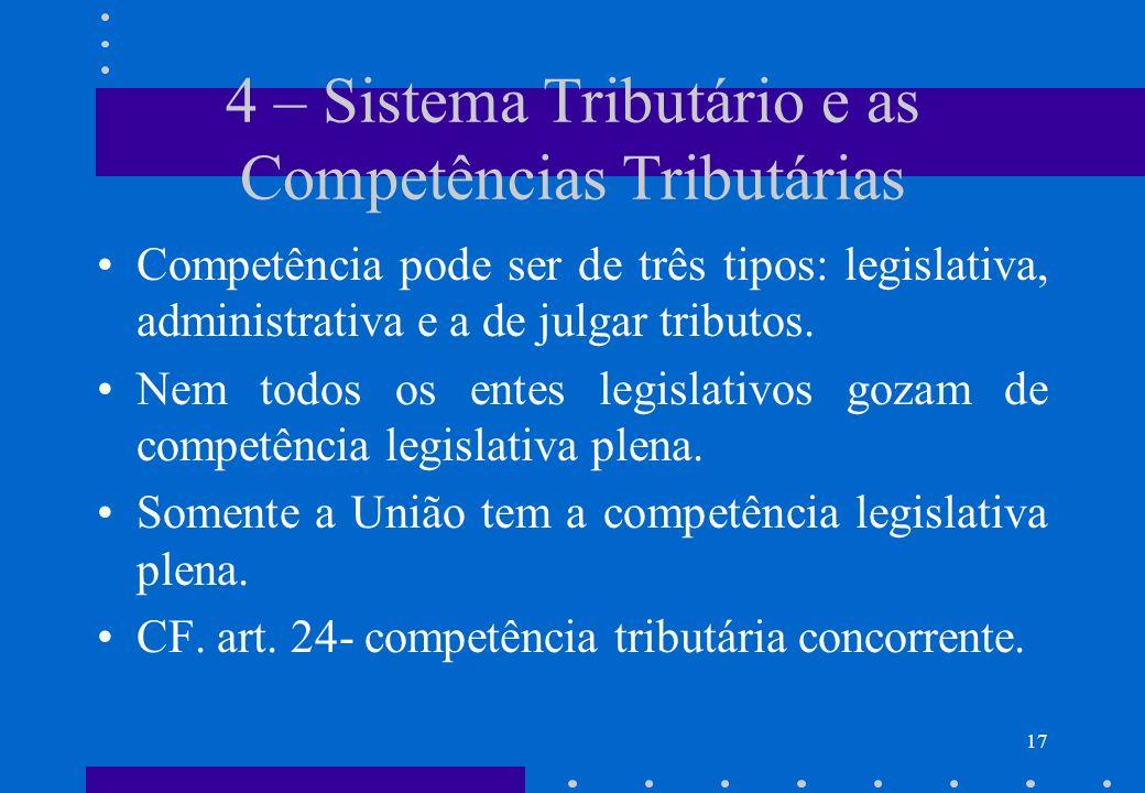 4 – Sistema Tributário e as Competências Tributárias Competência pode ser de três tipos: legislativa, administrativa e a de julgar tributos. Nem todos