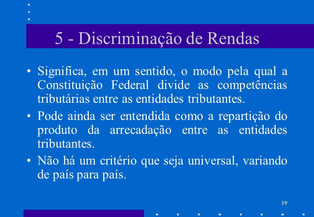 5 - Discriminação de Rendas Significa, em um sentido, o modo pela qual a Constituição Federal divide as competências tributárias entre as entidades tr