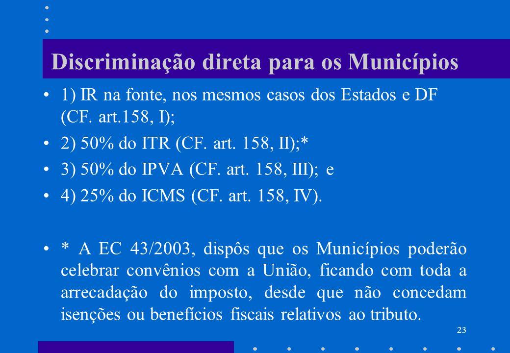 Discriminação direta para os Municípios 1) IR na fonte, nos mesmos casos dos Estados e DF (CF. art.158, I); 2) 50% do ITR (CF. art. 158, II);* 3) 50%