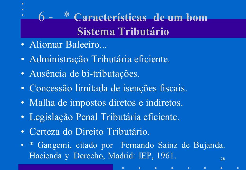 6 - * Características de um bom Sistema Tributário Aliomar Baleeiro... Administração Tributária eficiente. Ausência de bi-tributações. Concessão limit