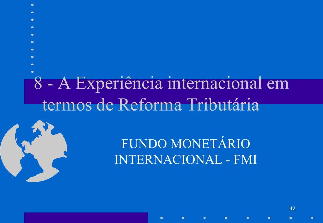 8 - A Experiência internacional em termos de Reforma Tributária FUNDO MONETÁRIO INTERNACIONAL - FMI 32