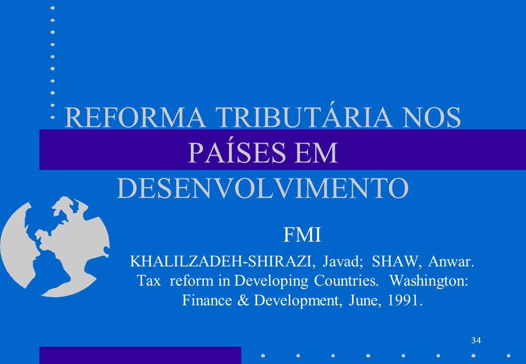 REFORMA TRIBUTÁRIA NOS PAÍSES EM DESENVOLVIMENTO FMI KHALILZADEH-SHIRAZI, Javad; SHAW, Anwar. Tax reform in Developing Countries. Washington: Finance