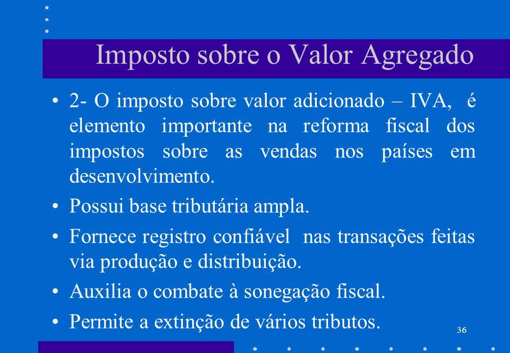 Imposto sobre o Valor Agregado 2- O imposto sobre valor adicionado – IVA, é elemento importante na reforma fiscal dos impostos sobre as vendas nos paí