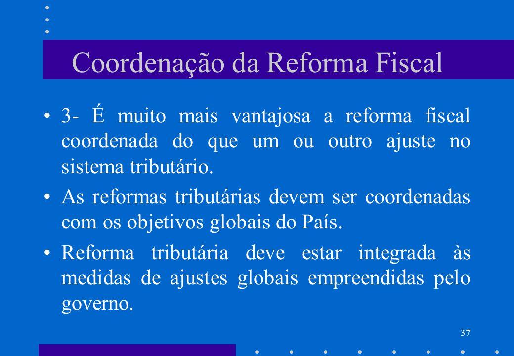 Coordenação da Reforma Fiscal 3- É muito mais vantajosa a reforma fiscal coordenada do que um ou outro ajuste no sistema tributário. As reformas tribu