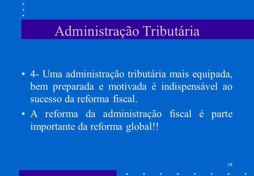 Administração Tributária 4- Uma administração tributária mais equipada, bem preparada e motivada é indispensável ao sucesso da reforma fiscal. A refor