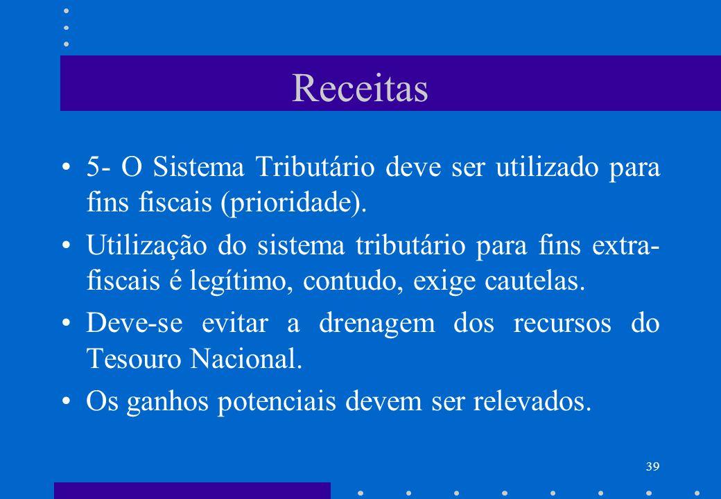 Receitas 5- O Sistema Tributário deve ser utilizado para fins fiscais (prioridade). Utilização do sistema tributário para fins extra- fiscais é legíti