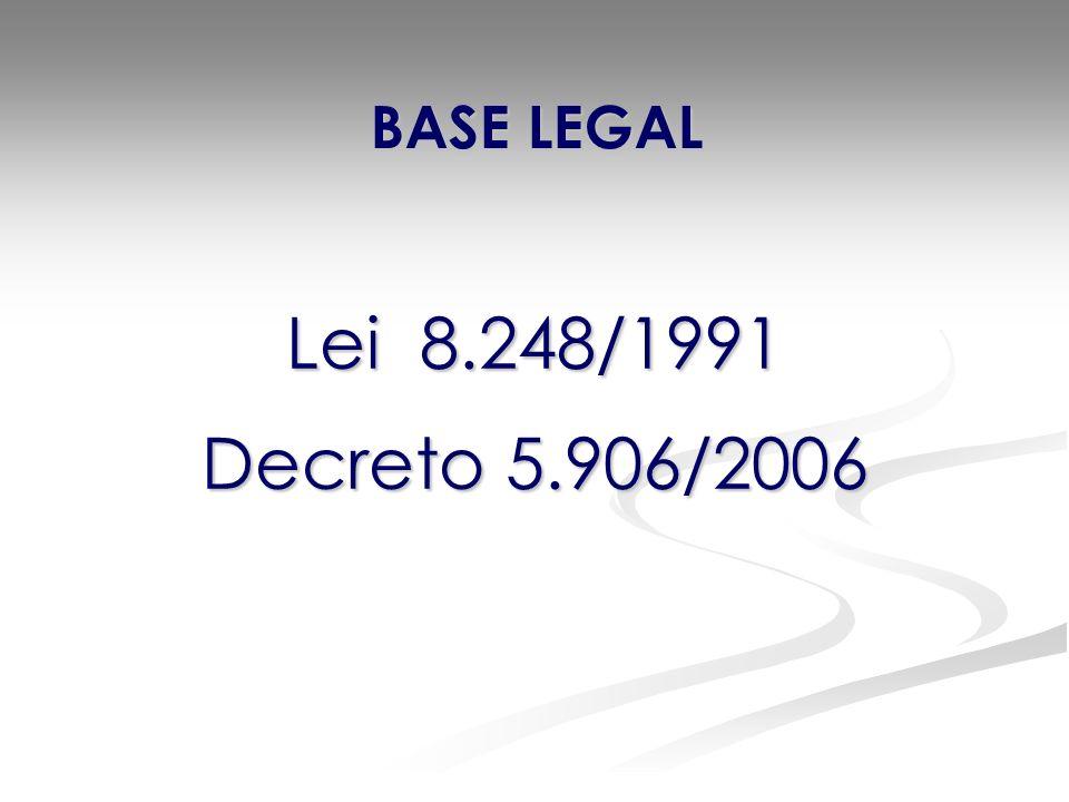 BASE LEGAL Lei 8.248/1991 Decreto 5.906/2006