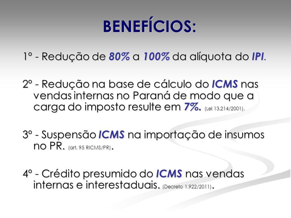 BENEFÍCIOS: 1º - Redução de 80% a 100% da alíquota do IPI. 2º - Redução na base de cálculo do ICMS nas vendas internas no Paraná de modo que a carga d