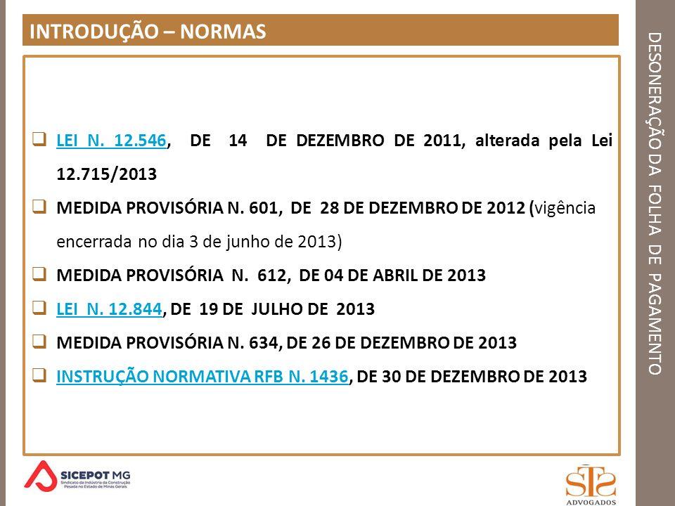 DESONERAÇÃO DA FOLHA DE PAGAMENTO DESONERAÇÃO CONTRIBUIÇÃO SUBSTITUTIVA LEI Nº 12.546, DE 14 DE DEZEMBRO DE 2011.