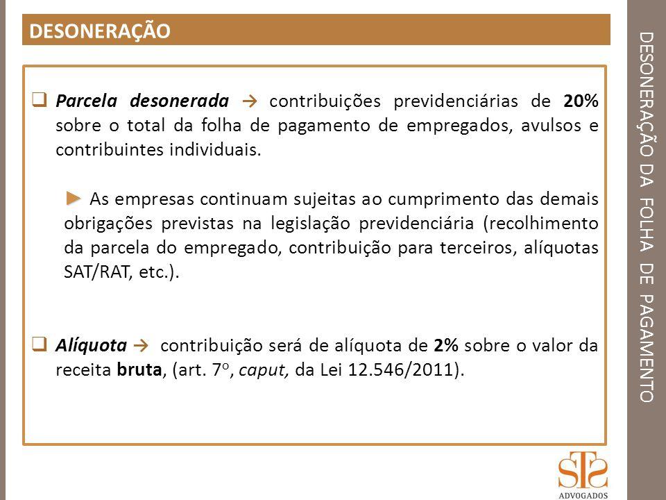 DESONERAÇÃO DA FOLHA DE PAGAMENTO SETORES DESONERADOS PESSOAL ADMINISTRATIVO IN 1436/2013 Art.