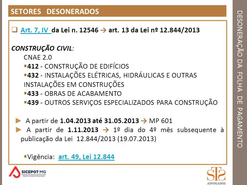 DESONERAÇÃO DA FOLHA DE PAGAMENTO DESONERAÇÃO - MULTIPLAS ATIVIDADES REGRA GERAL Art.
