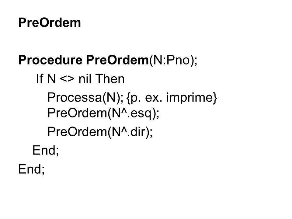 PreOrdem Procedure PreOrdem(N:Pno); If N <> nil Then Processa(N); {p. ex. imprime} PreOrdem(N^.esq); PreOrdem(N^.dir); End;