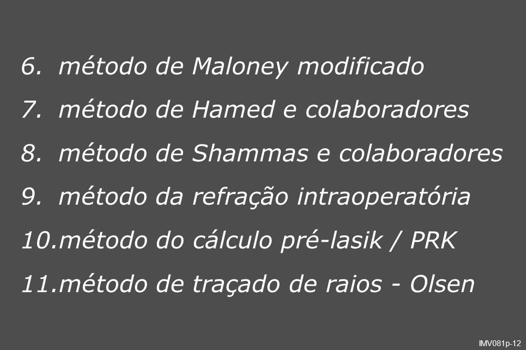 IMV081p-12 6.método de Maloney modificado 7.método de Hamed e colaboradores 8.método de Shammas e colaboradores 9.método da refração intraoperatória 1