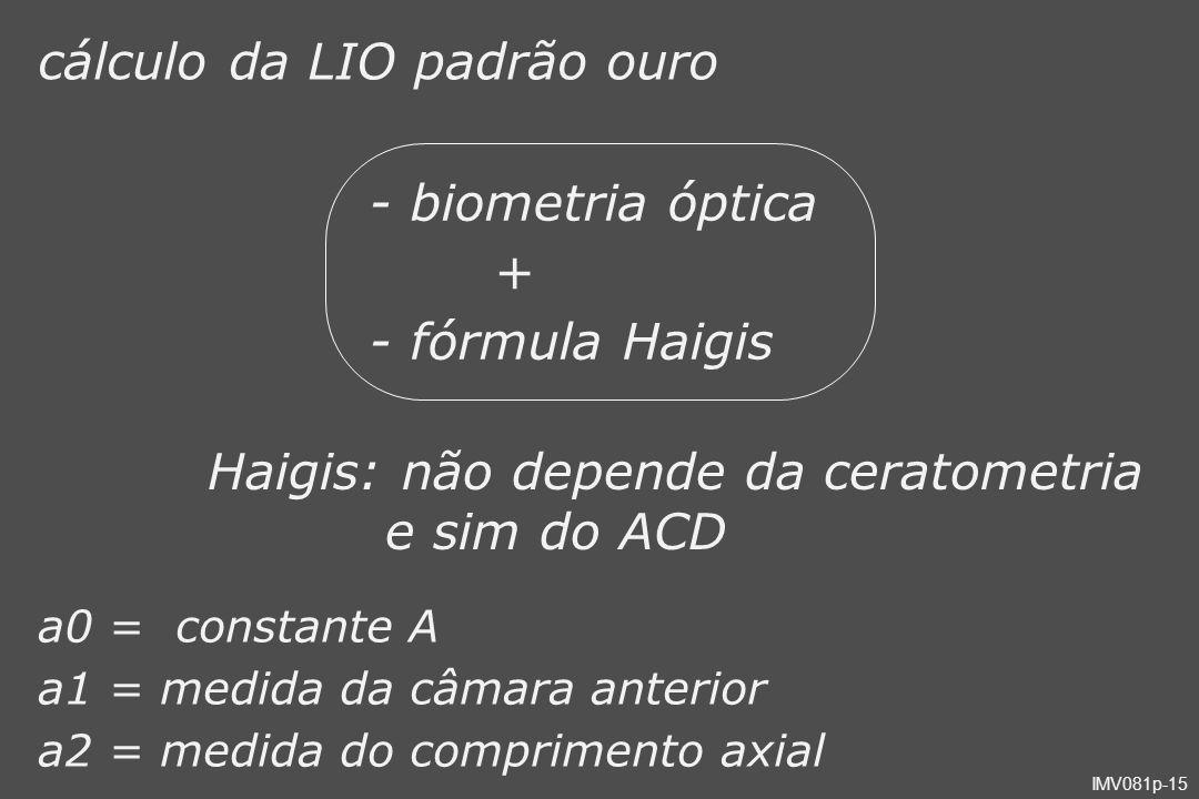 IMV081p-15 cálculo da LIO padrão ouro - biometria óptica + - fórmula Haigis Haigis: não depende da ceratometria e sim do ACD a0 = constante A a1 = med