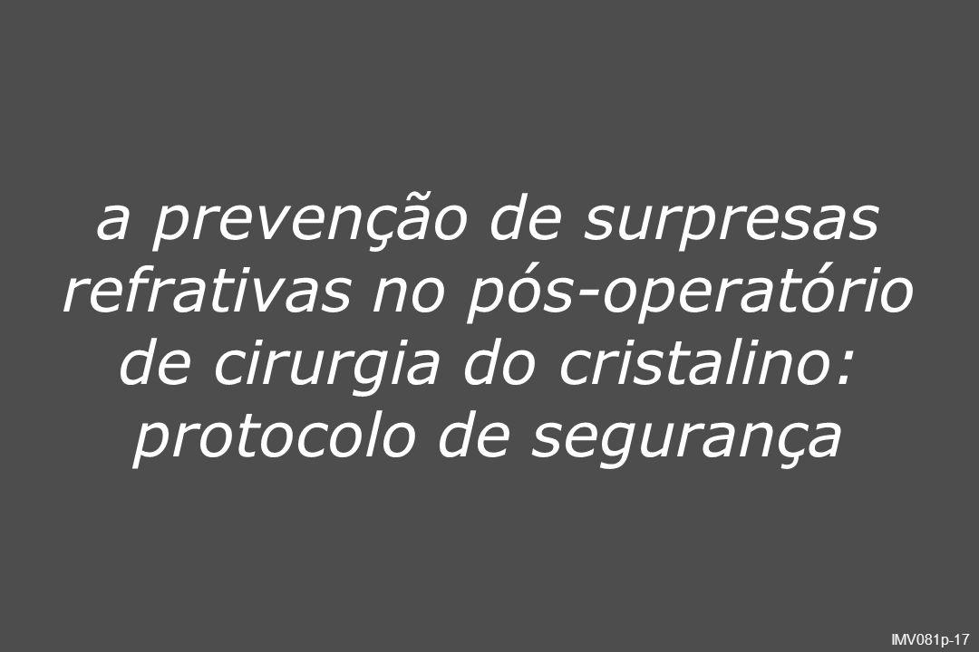 IMV081p-17 a prevenção de surpresas refrativas no pós-operatório de cirurgia do cristalino: protocolo de segurança